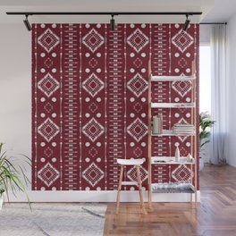 "Shibori Style ""Ladder"" on Red Wall Mural"
