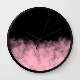 Black with Pink Smoke Minimal Wall Clock