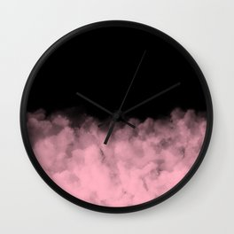 Pink Clouds on Black Wall Clock
