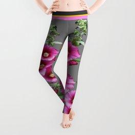 Fuchsia Pink Holly Hocks Grey Vinette Leggings