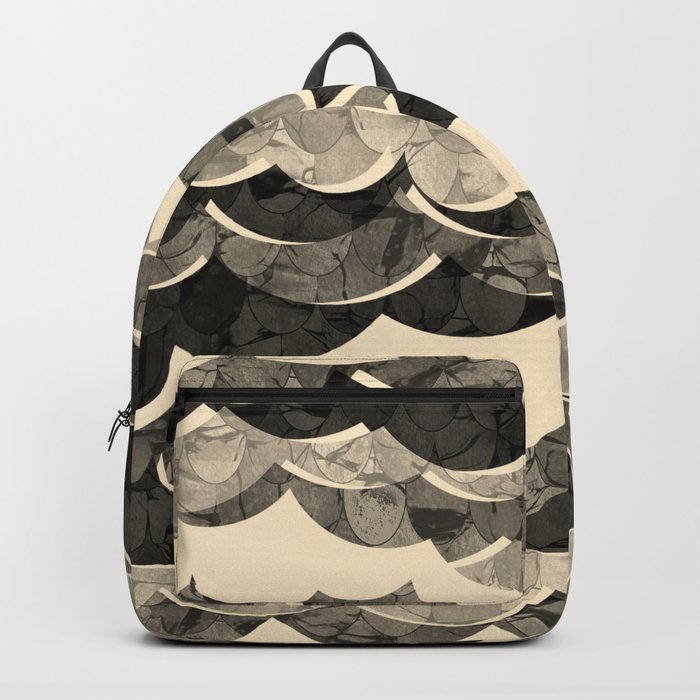 Abstract Beige Sea Waves Design Backpack