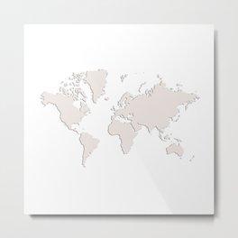 World with no Borders - cream Metal Print
