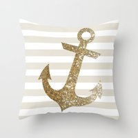gold glitter Throw Pillows featuring GLITTER ANCHOR IN GOLD by colorstudio