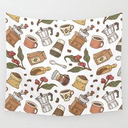 Coffee Break Pattern  Wall Tapestry