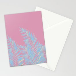 Palm Leaves Blue And Pink Stationery Cards