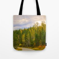 ashton irwin Tote Bags featuring Ashton Idaho - The Road Less Traveled by IMAGETAKERS