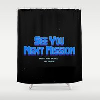 metroid Shower Curtains featuring Metroid - See You Next Mission by Aaron Campbell