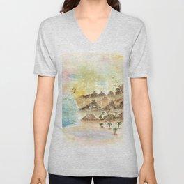 Landscape Nature Watercolor Art Unisex V-Neck