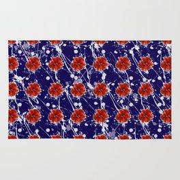 Blue Poppies Pattern Rug