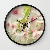 cherry blossom Wall Clocks featuring Cherry Blossom by Cassia Beck