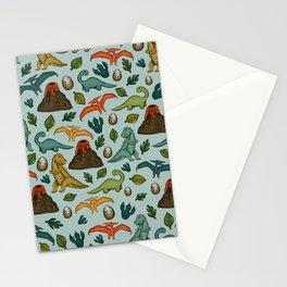 Dinosaur Print, Dino, Jurassic, Jurassic Art, Fossils, Volcanos, T-Rex, Light Blue Stationery Cards