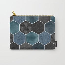 Midnight marble hexagons Carry-All Pouch
