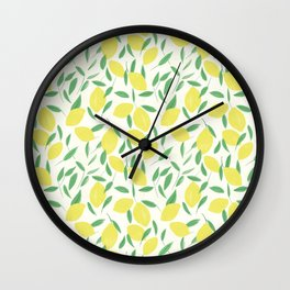 Lemons and Leaves Pattern Wall Clock