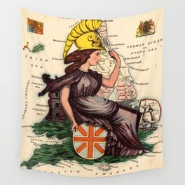 Vintage Illustrative Map of England (1869) Wall Tapestry
