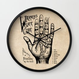 Warner's Safe Cure - Palmistry - Vintage Advertising - Palmreading - Fortune Tellings Wall Clock