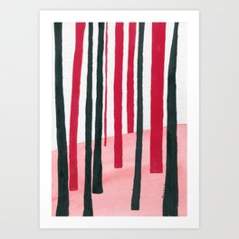 Black and red #5 ink painting  Art Print