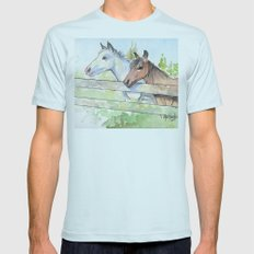 Horses Watercolor Sketch Barn Animals Horse 2X-LARGE Light Blue Mens Fitted Tee
