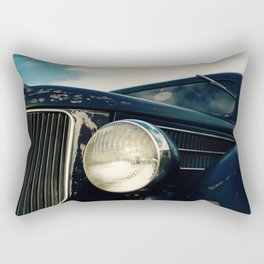 Close-up Photo of a Vintage Car Headlight and Grill Rectangular Pillow