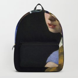 The Girl With The Pearl Earring Taking a Selfie portrait painting by Jan Vermeer & Mitchell Grafton Backpack