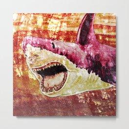 Sunset Shark (Distressed) Metal Print