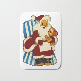 Vintage Santa with Teddy Bear Bath Mat