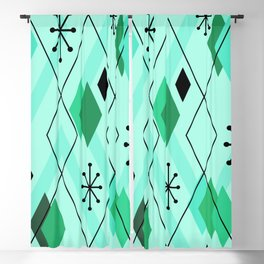Mid Century Modern Scattered Diamonds Mint Green Blackout Curtain