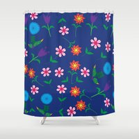 floral pattern Shower Curtains featuring Floral pattern  by luizavictoryaPatterns