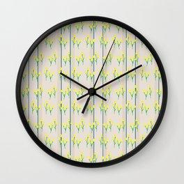 Yellow bursts on stripes Wall Clock