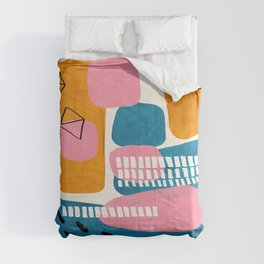 Mid Century Modern abstract Minimalist Fun Colorful Shapes Patterns Pink Teal Yellow Ochre Bubbles Comforters