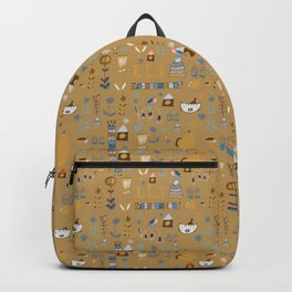 hygge cat and bird camel Backpack