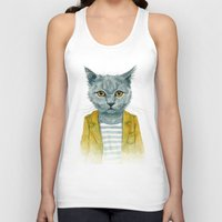kitty Tank Tops featuring Kitty by Leslie Evans