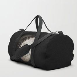 Battered Baseball in Black and White Duffle Bag