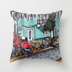 Vespa Street Throw Pillow