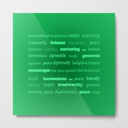 Fun With Colour & Words - Green Metal Print