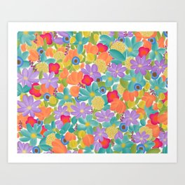 Wild Flowers Design Colorful Feminine Artsy Beautiful White Background Art Print