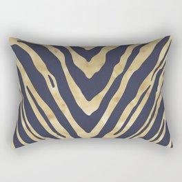 Zebra Stripes in Glam Blue and Gold Rectangular Pillow
