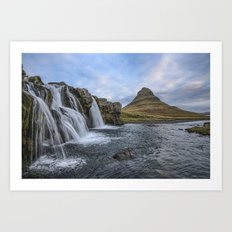 Waterfall Cascade Kirkjufell Mountain Iceland Art Print