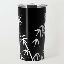 Bamboo Leaves White - black background Travel Mug
