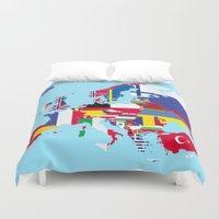 europe Duvet Covers featuring Europe flags by SebinLondon
