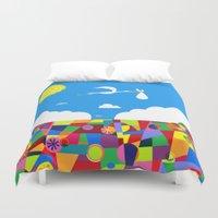 nursery Duvet Covers featuring Up! Nursery Art by foreverwars