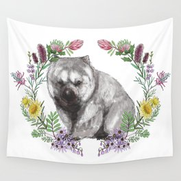 Wombat in Floral Wreath Wall Tapestry