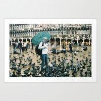 Raining Pigeons Art Print