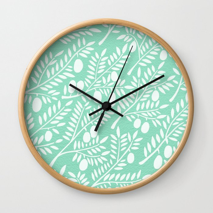 Mint Olive Branches Wall Clock