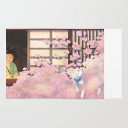 Hanami Cat in Sakura Tree Rug