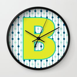Letter B Monogram Blue, Green and Yellow with Pattern Wall Clock
