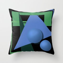 abstract painting, abstraction, green and black, geometric, 3d Throw Pillow