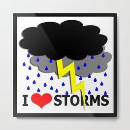 i heart storms (square) Metal Print