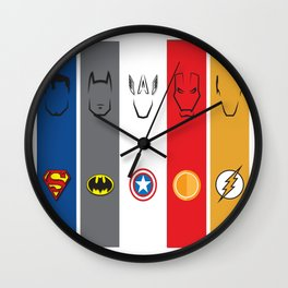 Superhero Minimalism + Logos No. 1-5 Wall Clock
