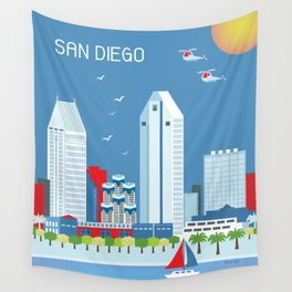 San Diego, California - Skyline Illustration by Loose Petals Wall Tapestry