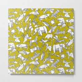 origami animal ditsy chartreuse Metal Print